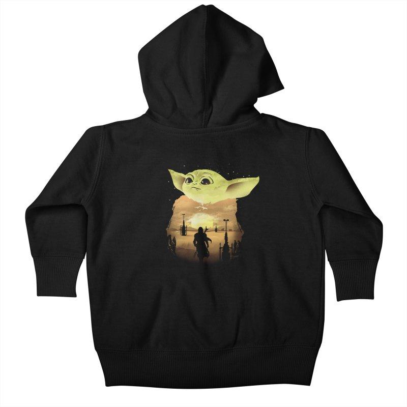 Baby Yoda Sunset Kids Baby Zip-Up Hoody by dandingeroz's Artist Shop