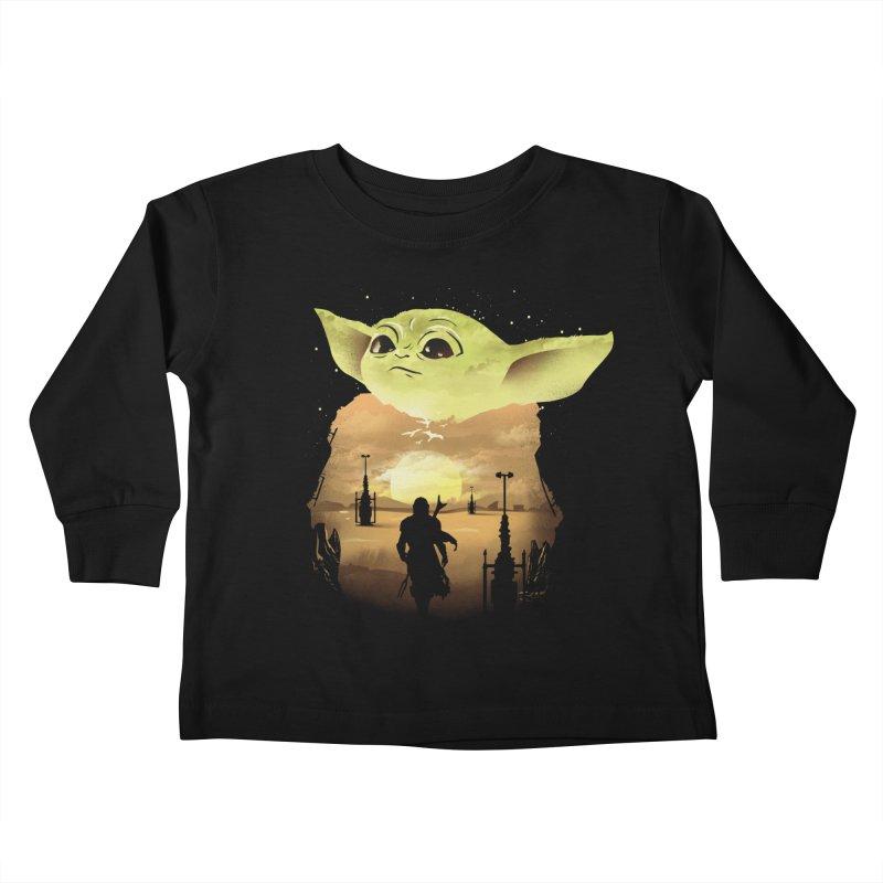 Baby Yoda Sunset Kids Toddler Longsleeve T-Shirt by dandingeroz's Artist Shop