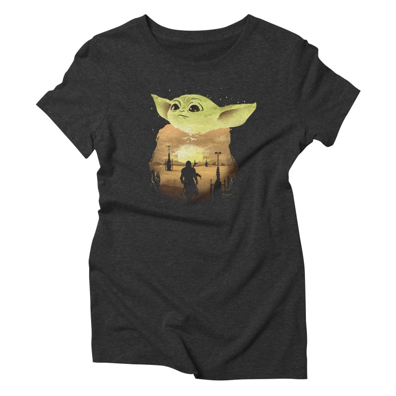 Baby Yoda Sunset Women's Triblend T-Shirt by dandingeroz's Artist Shop