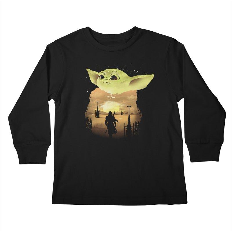 Baby Yoda Sunset Kids Longsleeve T-Shirt by dandingeroz's Artist Shop