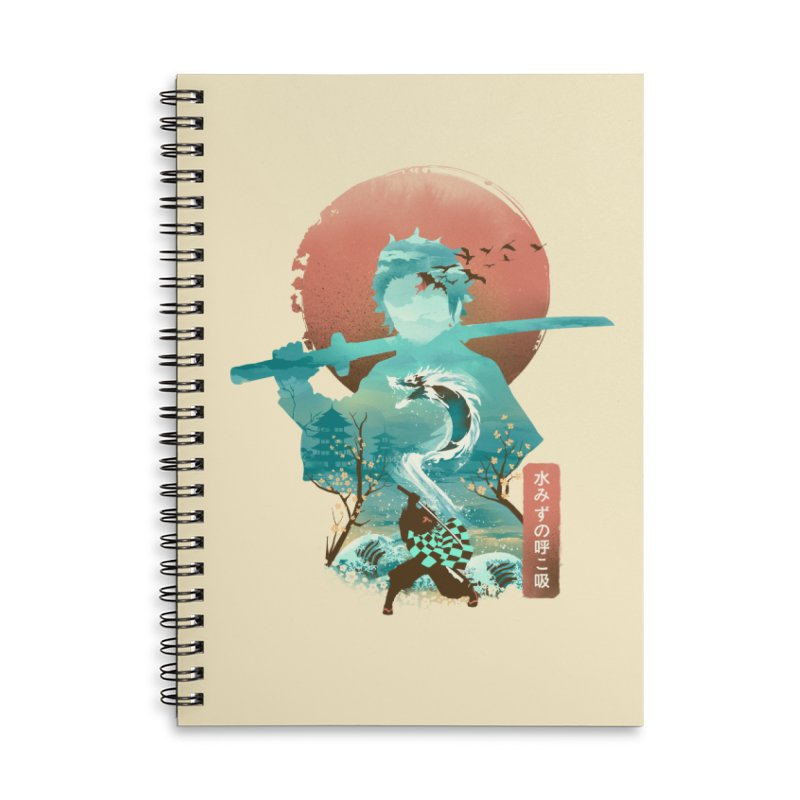 Ukiyo e Breath of Water Accessories Lined Spiral Notebook by dandingeroz's Artist Shop