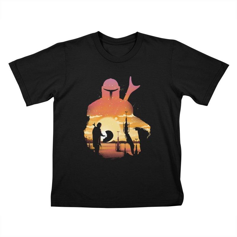 Mando Sunset Kids T-Shirt by dandingeroz's Artist Shop