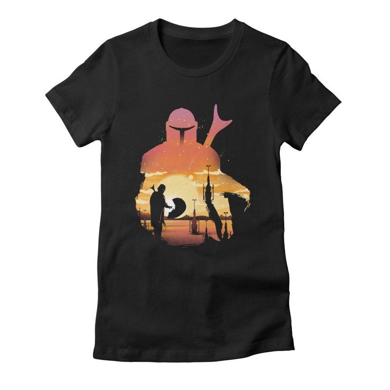 Mando Sunset Women's Fitted T-Shirt by dandingeroz's Artist Shop