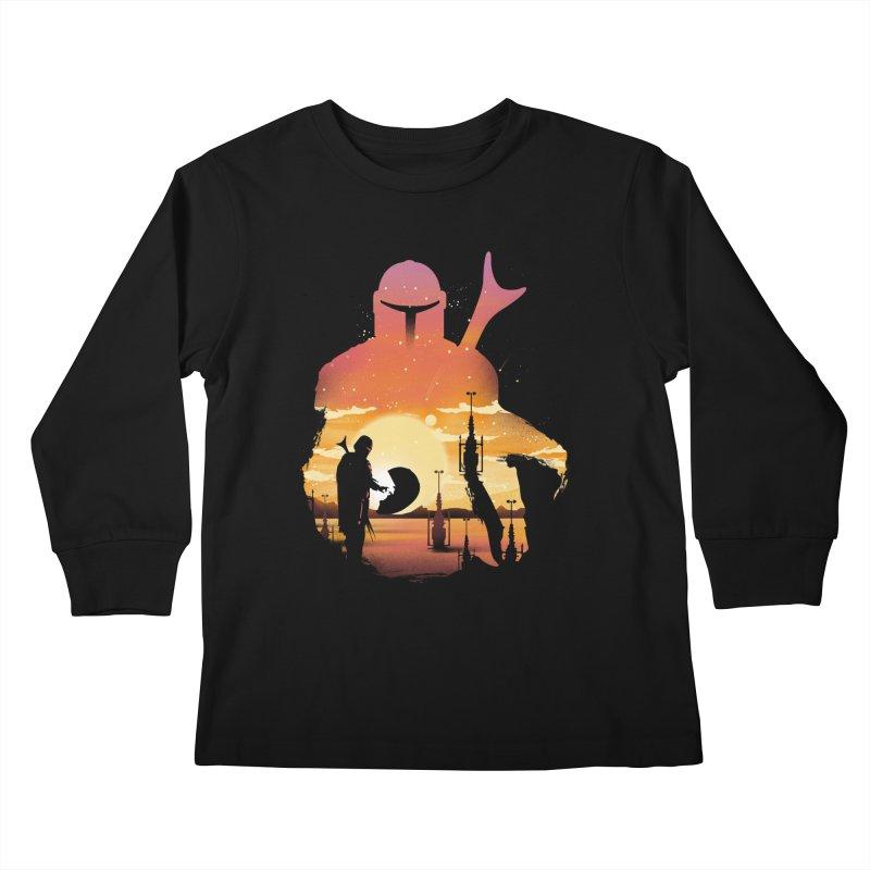 Mando Sunset Kids Longsleeve T-Shirt by dandingeroz's Artist Shop