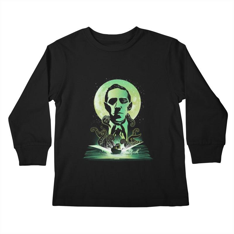Book of Lovecraft Kids Longsleeve T-Shirt by dandingeroz's Artist Shop