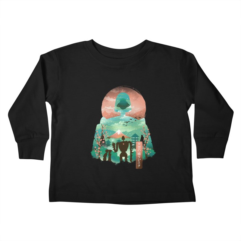 Ukiyo E Sky Castle Kids Toddler Longsleeve T-Shirt by dandingeroz's Artist Shop