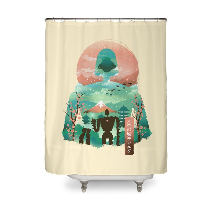 Ukiyo E Sky Castle Home Shower Curtain by dandingeroz's Artist Shop