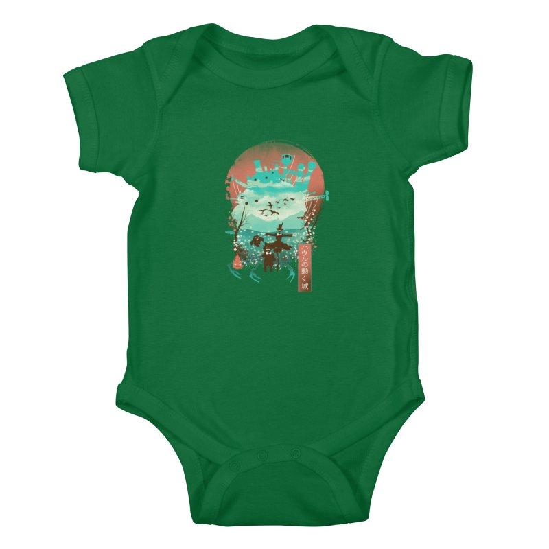 Ukiyo E Moving Castle Kids Baby Bodysuit by dandingeroz's Artist Shop