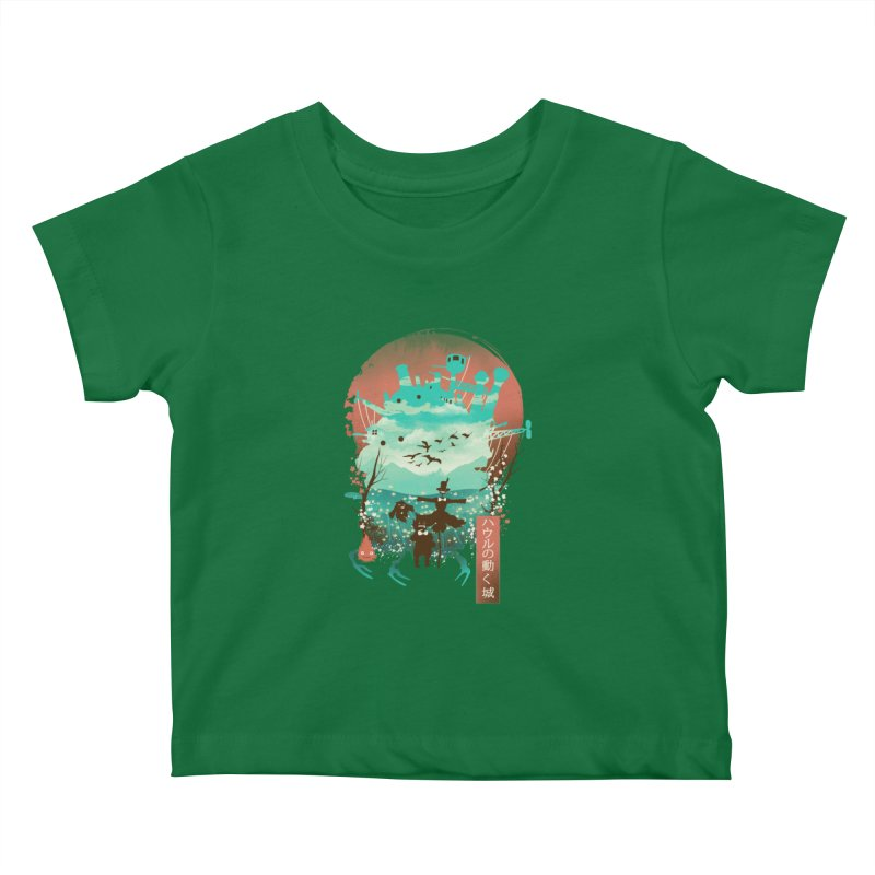 Ukiyo E Moving Castle Kids Baby T-Shirt by dandingeroz's Artist Shop