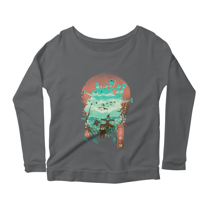 Ukiyo E Moving Castle Women's Longsleeve T-Shirt by dandingeroz's Artist Shop