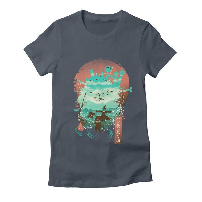 Ukiyo E Moving Castle Women's T-Shirt by dandingeroz's Artist Shop