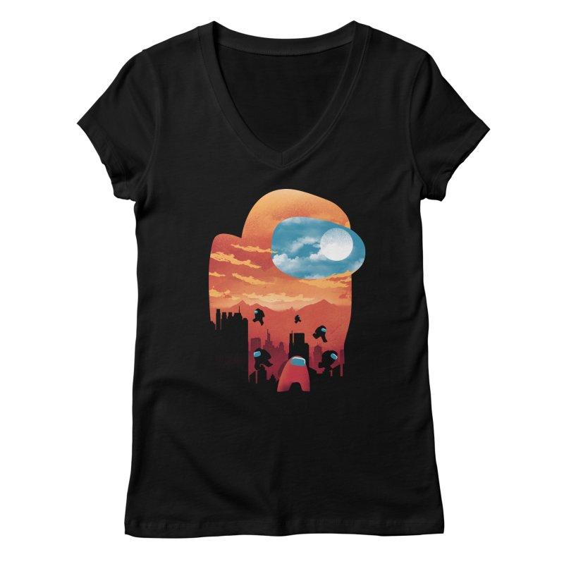 Imposter Sunset Women's V-Neck by dandingeroz's Artist Shop
