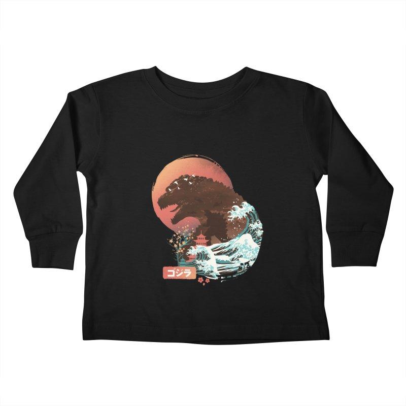 Kaiju UKiyo E Kids Toddler Longsleeve T-Shirt by dandingeroz's Artist Shop
