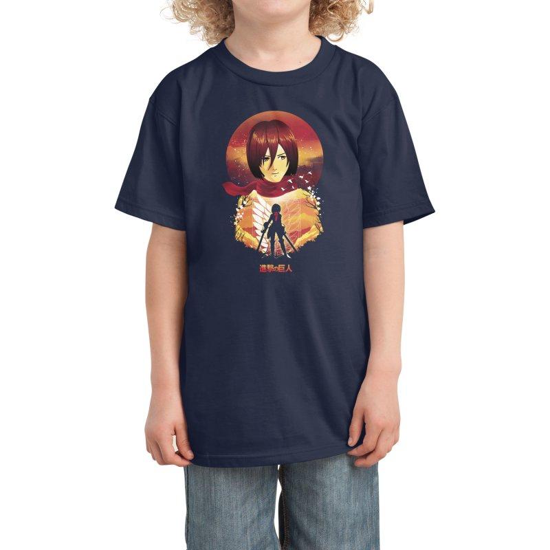 MIkasa Sunset Kids T-Shirt by dandingeroz's Artist Shop