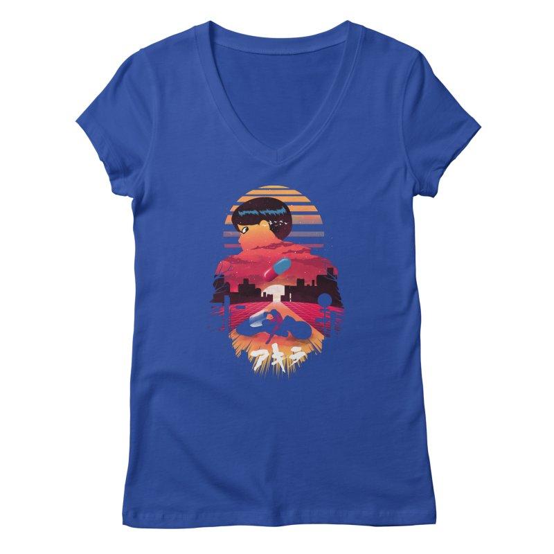 Kaneda Sunset Women's V-Neck by dandingeroz's Artist Shop