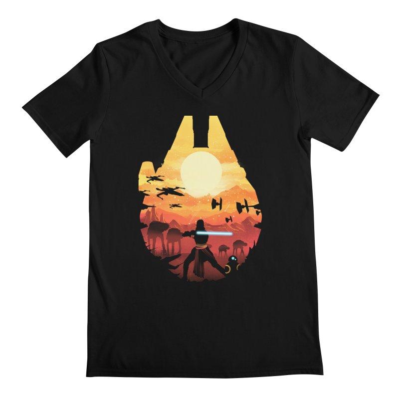 Jedi Sunset Men's V-Neck by dandingeroz's Artist Shop