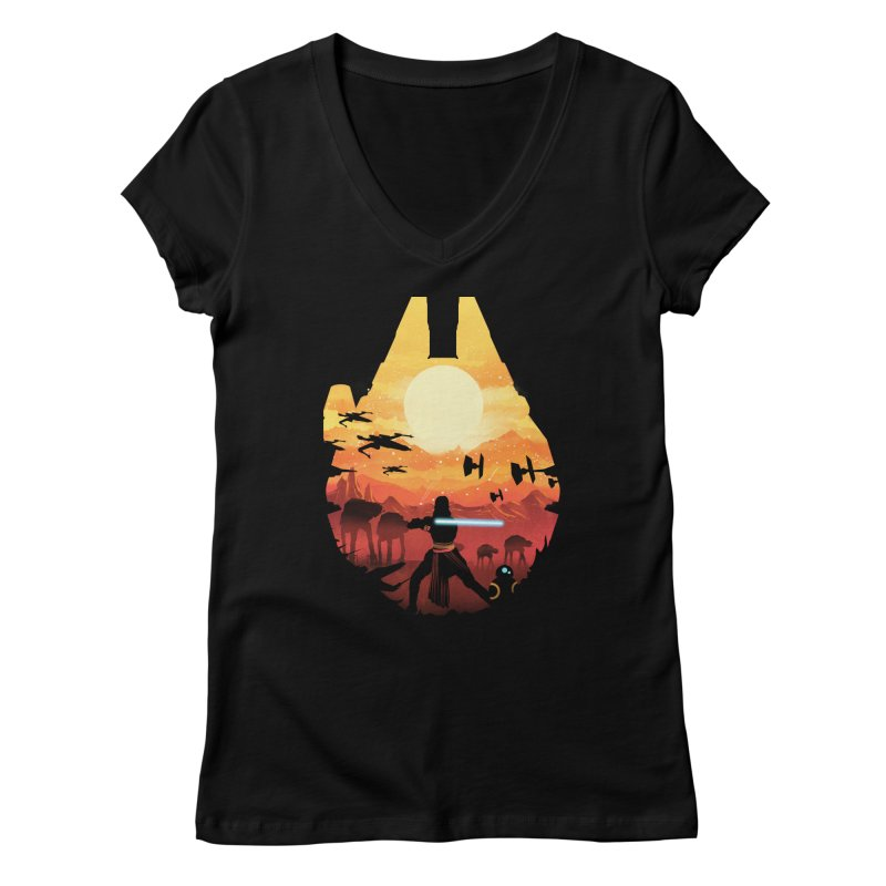 Jedi Sunset Women's V-Neck by dandingeroz's Artist Shop