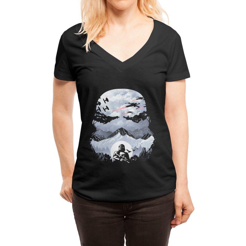 Storm Mountains Women's V-Neck by dandingeroz's Artist Shop