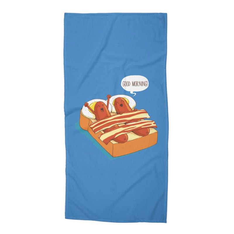 Breakfast on Bed Accessories Beach Towel by dandingeroz's Artist Shop