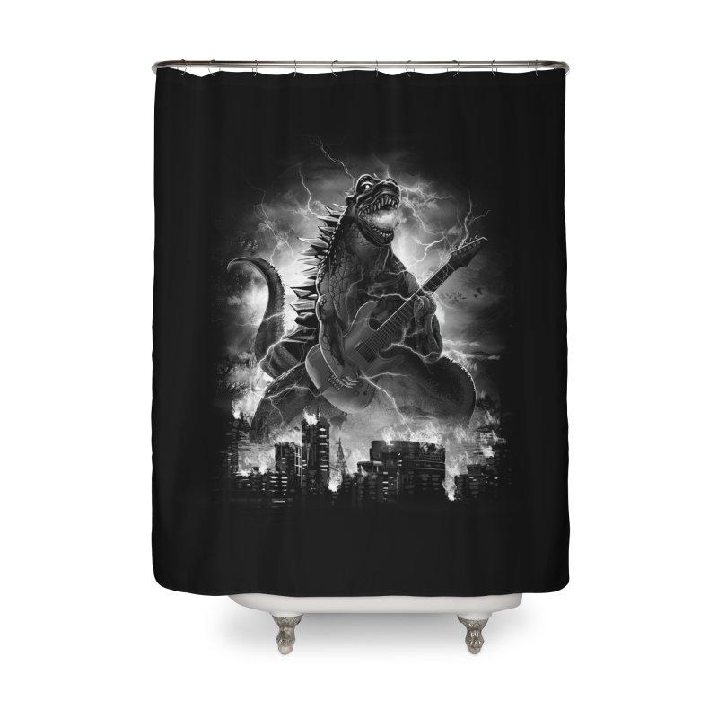 Rockzilla Home Shower Curtain by dandingeroz's Artist Shop