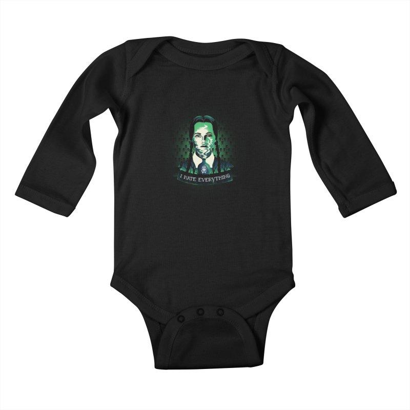 I hate everything Kids Baby Longsleeve Bodysuit by dandingeroz's Artist Shop