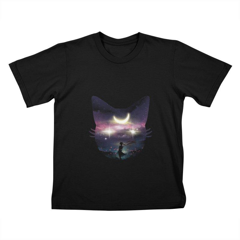 Moon Chaser Kids T-Shirt by dandingeroz's Artist Shop