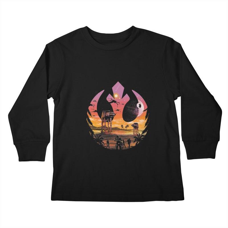 Rebellion Sunset Kids Longsleeve T-Shirt by dandingeroz's Artist Shop