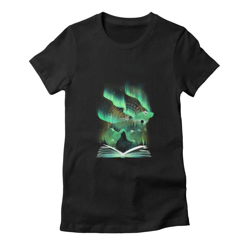 The Golden Night Women's Fitted T-Shirt by dandingeroz's Artist Shop