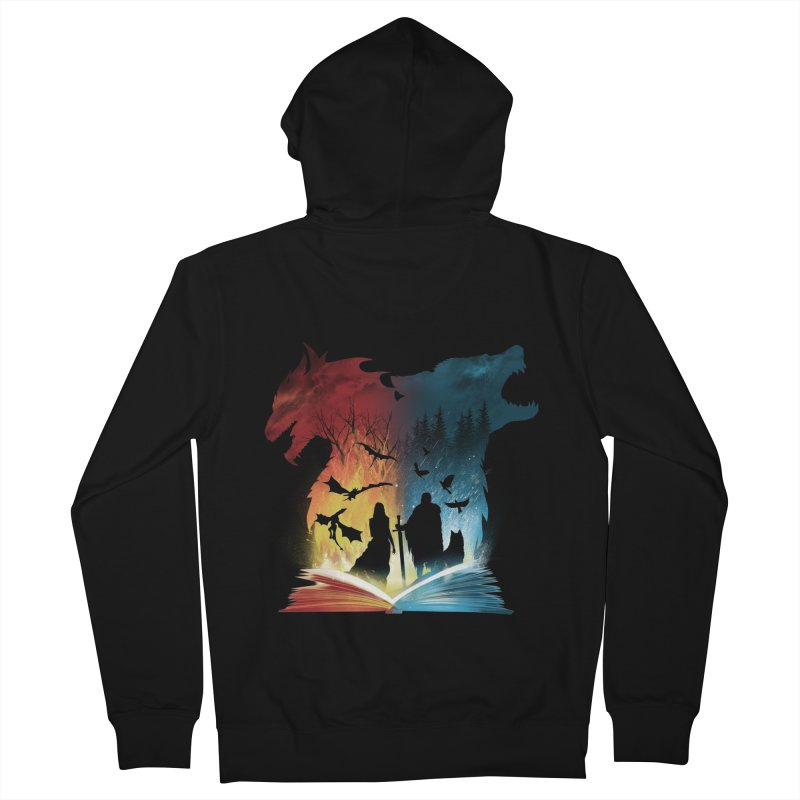 Book of Fire and Ice Men's Zip-Up Hoody by dandingeroz's Artist Shop