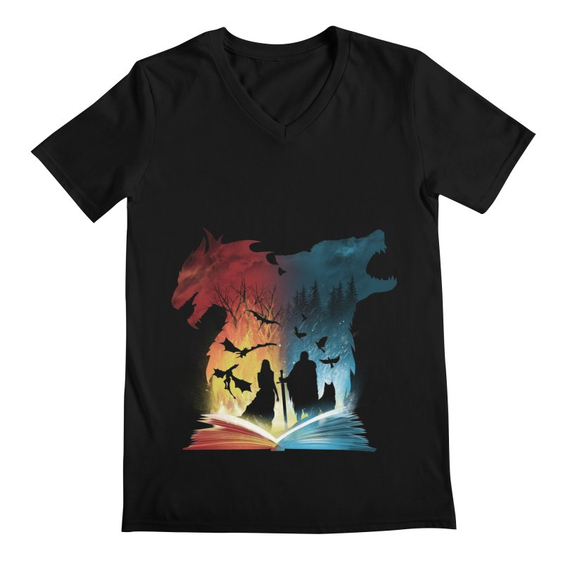 Book of Fire and Ice Men's Regular V-Neck by dandingeroz's Artist Shop