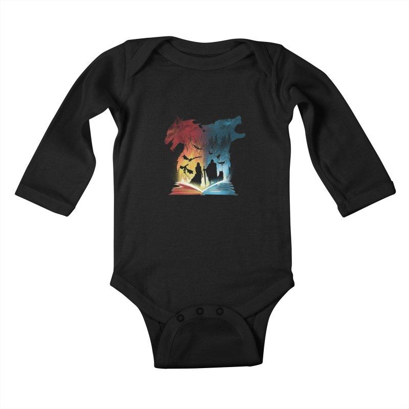 Book of Fire and Ice Kids Baby Longsleeve Bodysuit by dandingeroz's Artist Shop