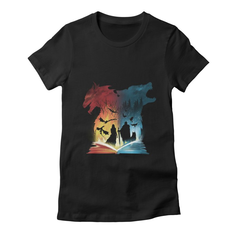 Book of Fire and Ice Women's Fitted T-Shirt by dandingeroz's Artist Shop