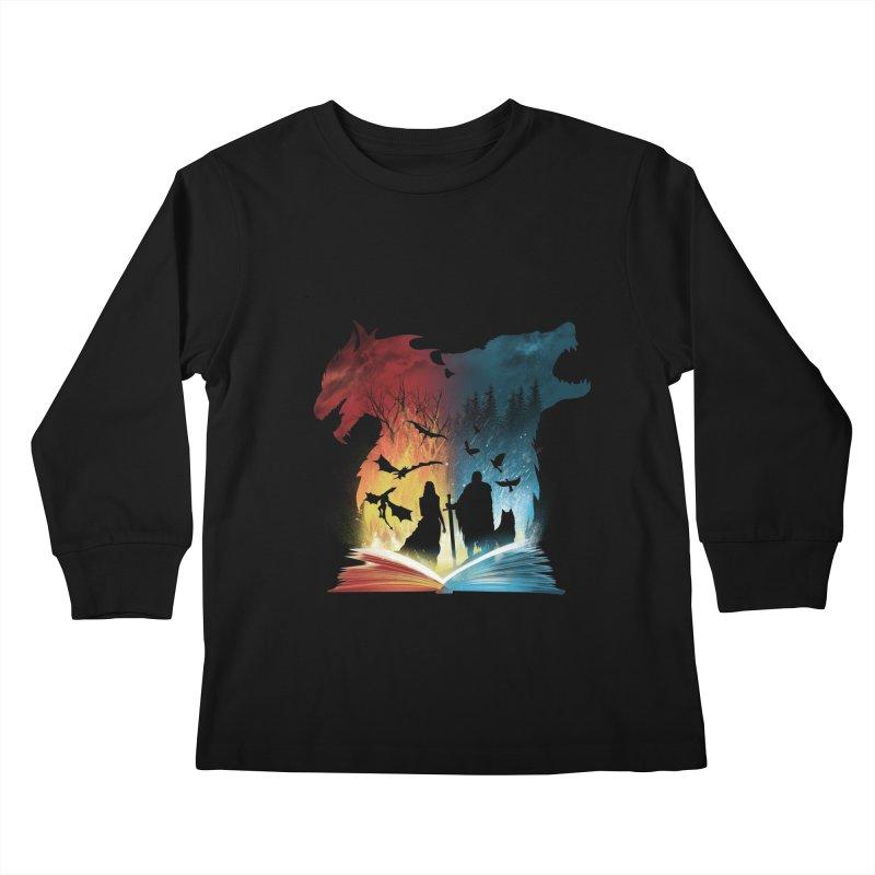 Book of Fire and Ice Kids Longsleeve T-Shirt by dandingeroz's Artist Shop