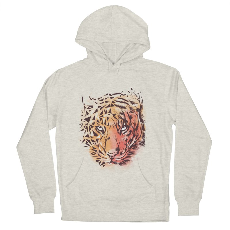 Geometrical Tiger Men's French Terry Pullover Hoody by dandingeroz's Artist Shop