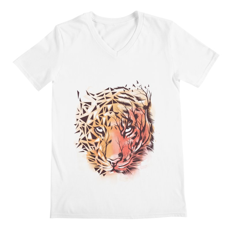 Geometrical Tiger Men's Regular V-Neck by dandingeroz's Artist Shop