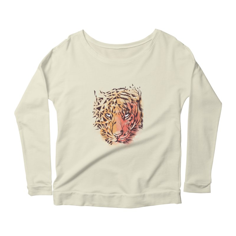 Geometrical Tiger Women's Scoop Neck Longsleeve T-Shirt by dandingeroz's Artist Shop