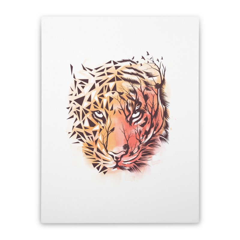 Geometrical Tiger Home Stretched Canvas by dandingeroz's Artist Shop