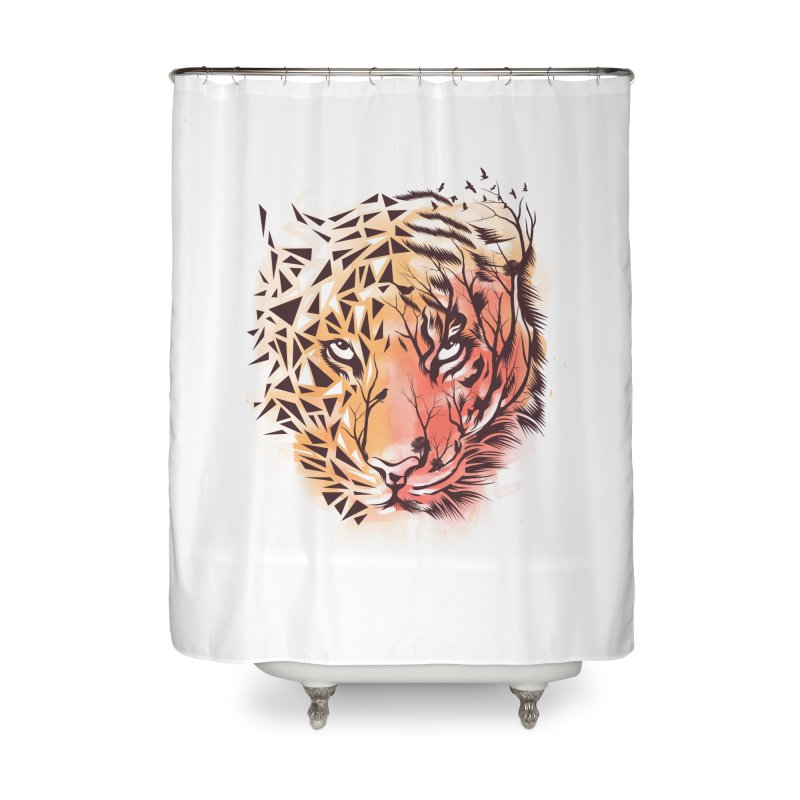 Geometrical Tiger Home Shower Curtain by dandingeroz's Artist Shop