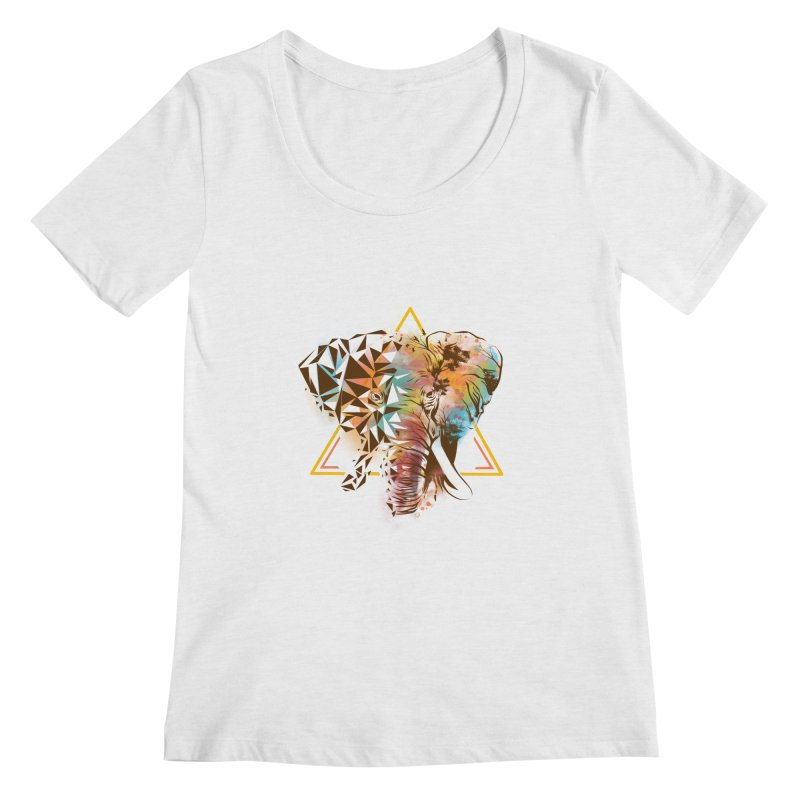 Geometric Elephant Women's Regular Scoop Neck by dandingeroz's Artist Shop