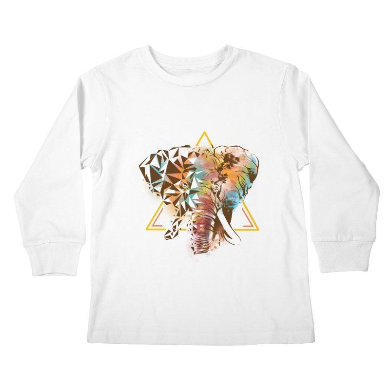 Geometric Elephant Kids Longsleeve T-Shirt by dandingeroz's Artist Shop