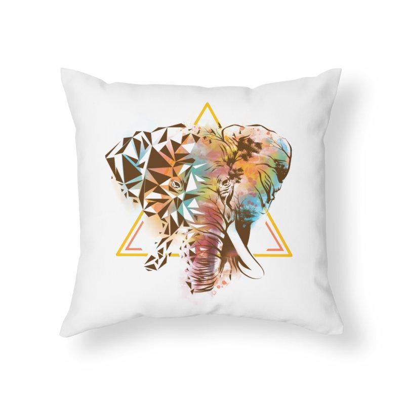 Geometric Elephant Home Throw Pillow by dandingeroz's Artist Shop