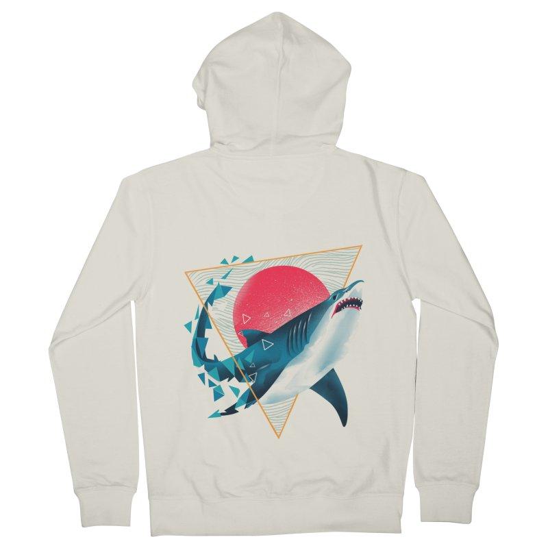 Geometric Shark Men's French Terry Zip-Up Hoody by dandingeroz's Artist Shop