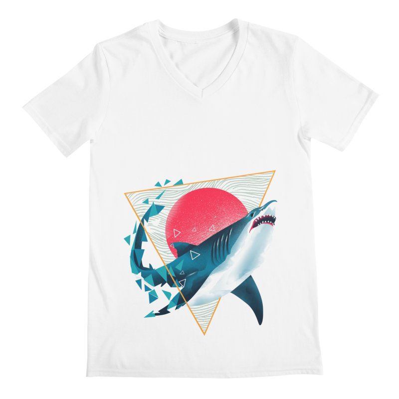 Geometric Shark Men's Regular V-Neck by dandingeroz's Artist Shop