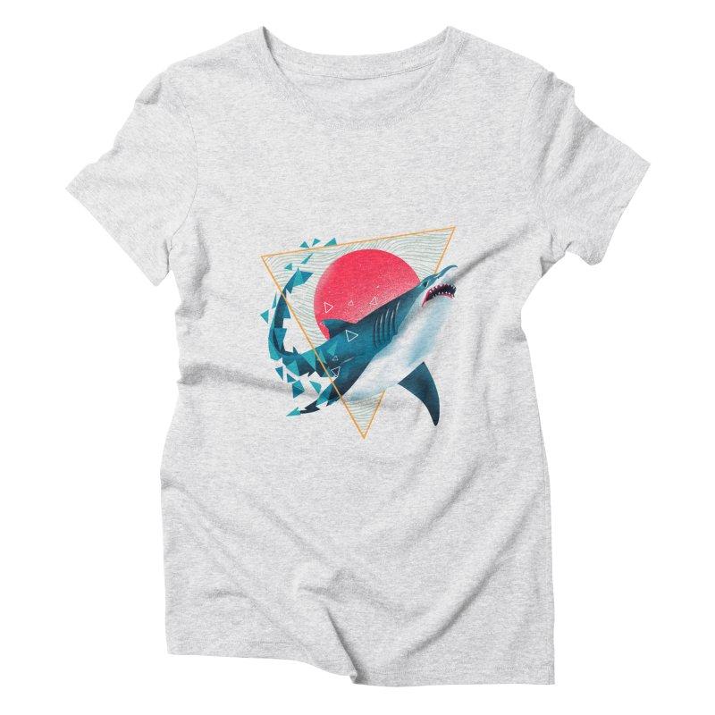 Geometric Shark Women's Triblend T-Shirt by dandingeroz's Artist Shop