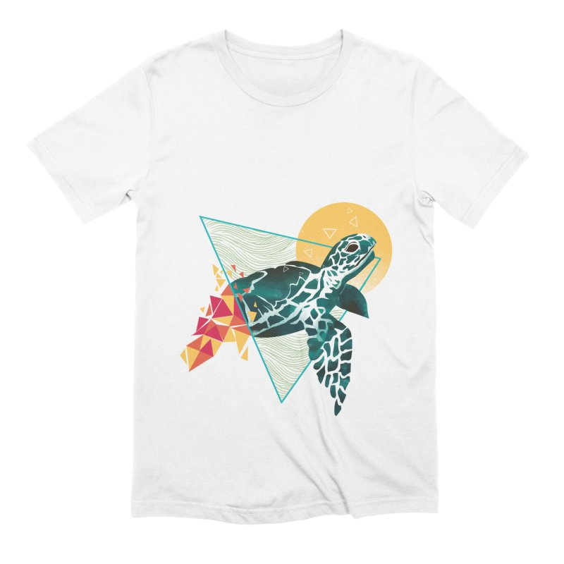 Geometric Turtle in Men's Extra Soft T-Shirt White by dandingeroz's Artist Shop
