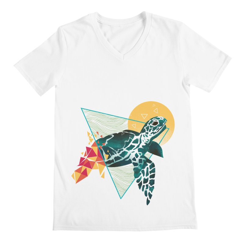 Geometric Turtle Men's Regular V-Neck by dandingeroz's Artist Shop