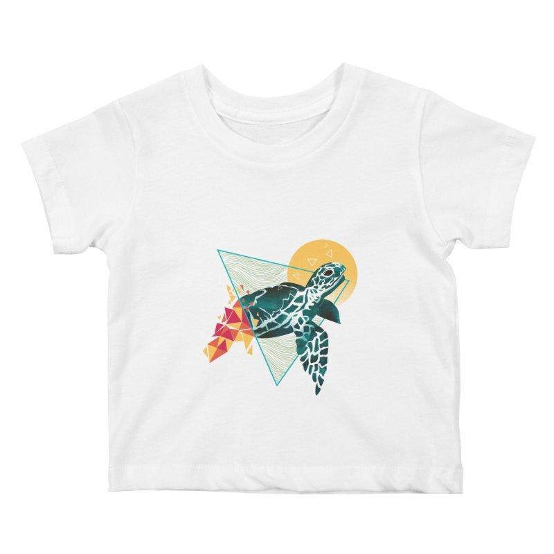 Geometric Turtle Kids Baby T-Shirt by dandingeroz's Artist Shop