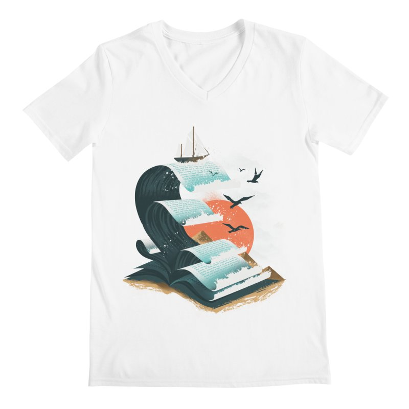 Waves of Knowledge Men's Regular V-Neck by dandingeroz's Artist Shop