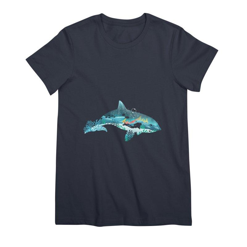 Dolphin Diver Women's Premium T-Shirt by dandingeroz's Artist Shop