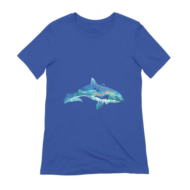 Dolphin Diver Women's Extra Soft T-Shirt by dandingeroz's Artist Shop